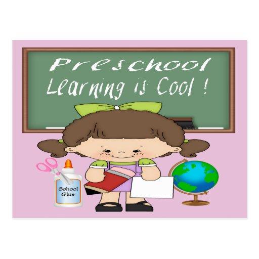 Preschool Girl Learning is Cool Postcards