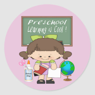 Preschool Girl Learning is Cool Round Sticker