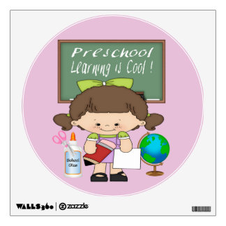 Preschool Girl Learning is Cool Round Wall Decal