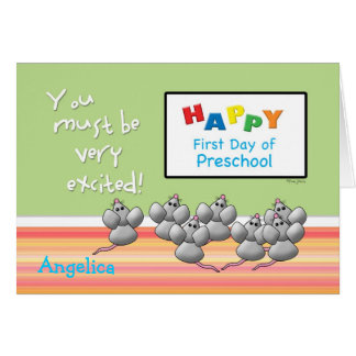 Preschool Happy First Day Mice and SMART Board Card