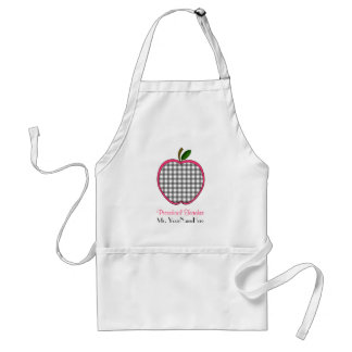 Preschool Teacher Apron - Charcoal Gingham Apple