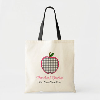 Preschool Teacher Bag - Gray Gingham Apple