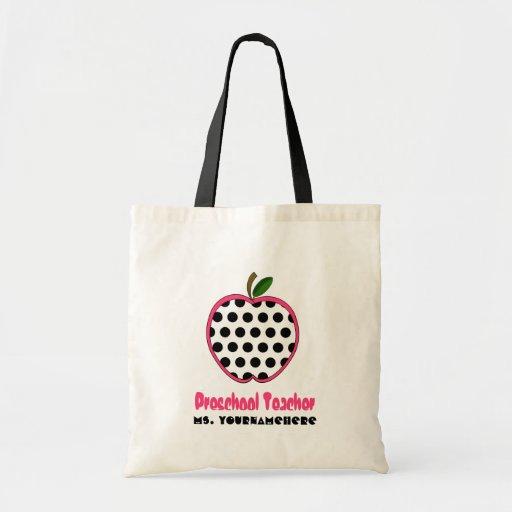 Preschool Teacher Bag - Polka Dot Apple