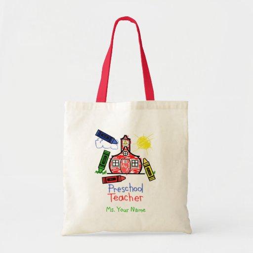 Preschool Teacher Bag - Schoolhouse and Crayons
