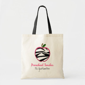 Preschool Teacher Bag - Zebra Print Apple
