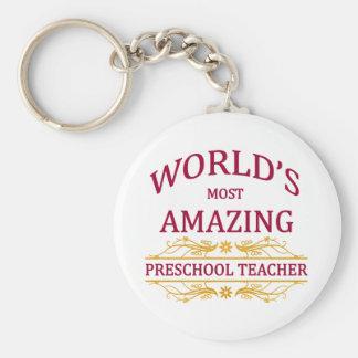 Preschool Teacher Basic Round Button Key Ring