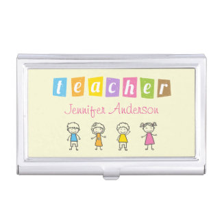 Preschool Teacher Cute Pencil Illustrations Business Card Holder