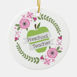 Preschool Teacher Floral Wreath Green Apple Round Ceramic Decoration