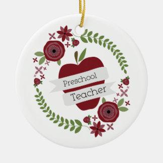 Preschool Teacher  Floral Wreath Red Apple Christmas Ornament