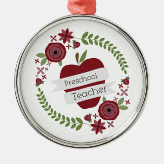 Preschool Teacher  Floral Wreath Red Apple Christmas Ornament