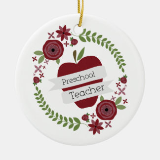 Preschool Teacher  Floral Wreath Red Apple Round Ceramic Decoration