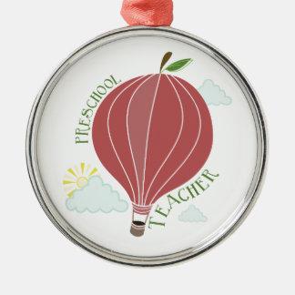 Preschool Teacher Hot Air Balloon Apple Silver-Colored Round Decoration