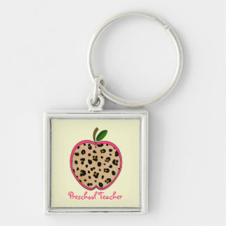 Preschool Teacher Leopard Print Apple Key Ring