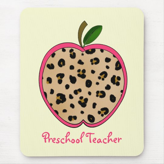 Preschool Teacher Leopard Print Apple Mouse Pad