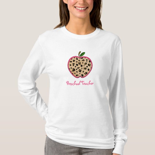 Preschool Teacher Leopard Print Apple T-Shirt