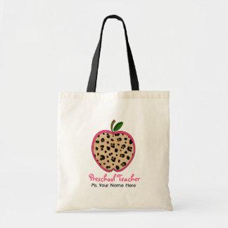 Preschool Teacher Leopard Print & Pink Apple Budget Tote Bag