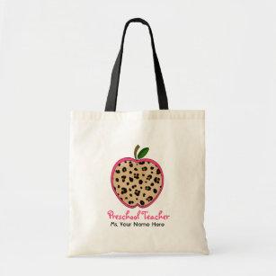 Preschool Teacher Leopard Print & Pink Apple Tote Bag