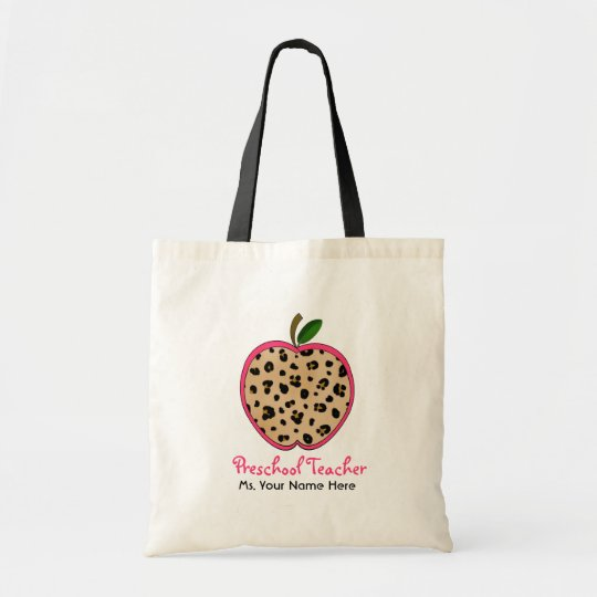 Preschool Teacher Leopard Print & Pink Apple Tote