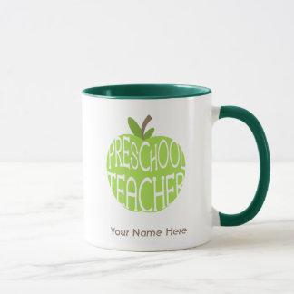 Preschool Teacher Mug - Green Apple