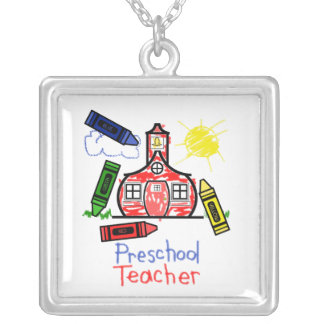 Preschool Teacher Necklace - Crayon Drawing