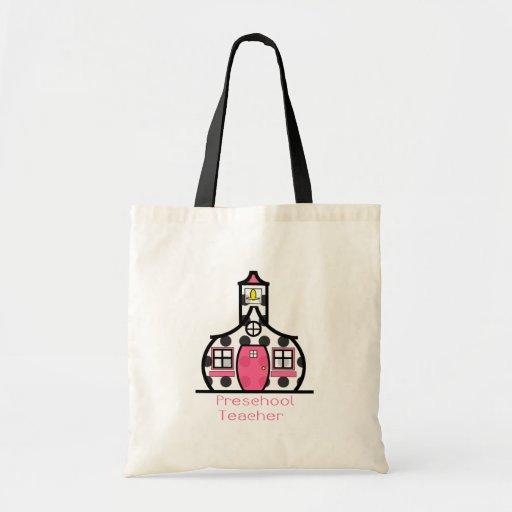 Preschool Teacher Polka Dot Schoolhouse Canvas Bags