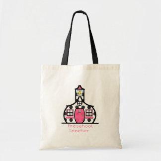 Preschool Teacher Polka Dot Schoolhouse Budget Tote Bag