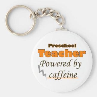 Preschool Teacher Powered by caffeine Basic Round Button Key Ring