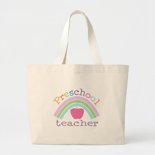 Preschool Teacher Rainbow Large Tote Bag