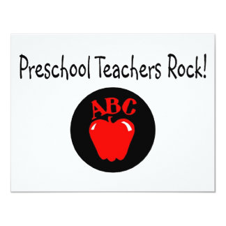 Preschool Teachers Rock Apple 11 Cm X 14 Cm Invitation Card