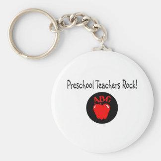 Preschool Teachers Rock Apple Basic Round Button Key Ring