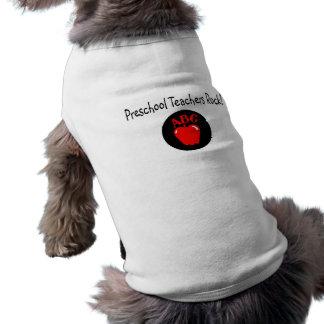 Preschool Teachers Rock Apple Doggie Shirt