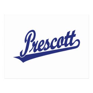 Prescott script logo in blue postcard