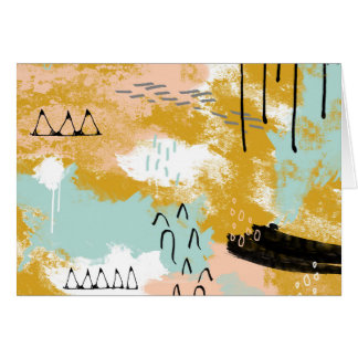 Presence of Life, Tribal Abstract Art Drips Marks Card
