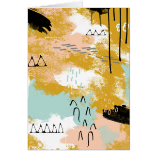 Presence of Life, Tribal Abstract Art Mint Blush Card