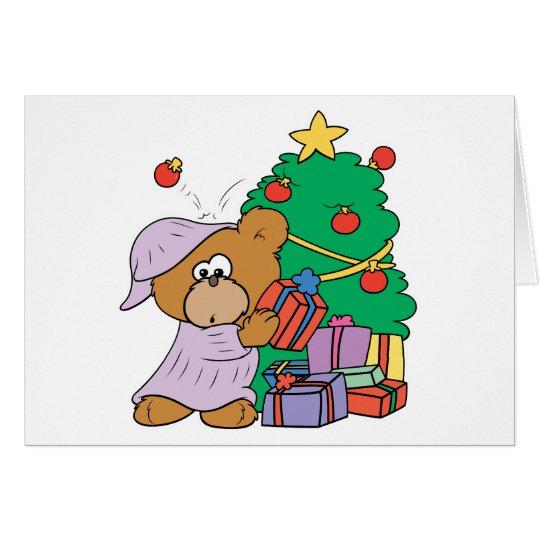 Present Peeking Christmas Bear Card