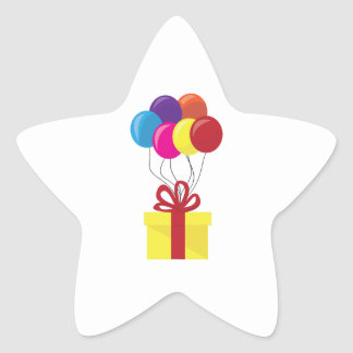 Present with Balloons Star Sticker