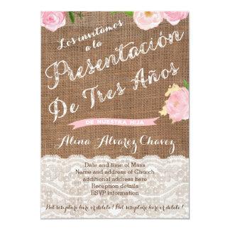 Presentación de Tres años, invitación presentacion Card