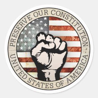 Preserve Our Constitution Round Sticker