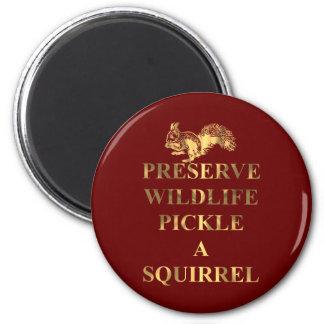 Preserve wildlife pickle a squirrel 6 cm round magnet