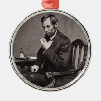 PRESIDENT ABRAHAM LINCOLN 1862 STEREOVIEW Silver-Colored ROUND DECORATION