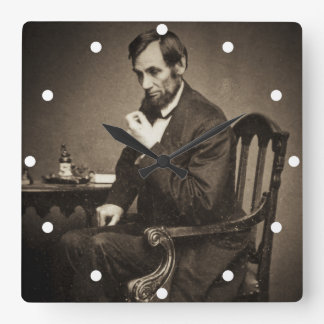 PRESIDENT ABRAHAM LINCOLN 1862 STEREOVIEW WALLCLOCK