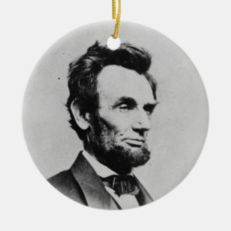 President Abraham Lincoln by Mathew B. Brady Double-Sided Ceramic Round Christmas Ornament