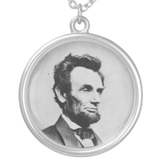 President Abraham Lincoln by Mathew B. Brady Round Pendant Necklace