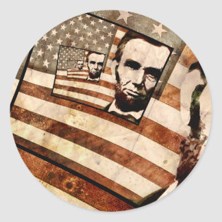 President Abraham Lincoln Patriotic Flag Classic Round Sticker