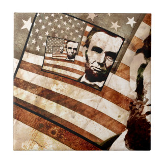 President Abraham Lincoln Patriotic Flag Ceramic Tile