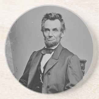 President Abraham Lincoln Portrait by Mathew Brady Beverage Coaster