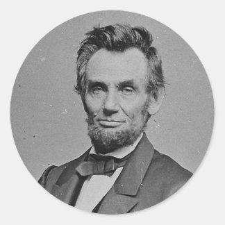 President Abraham Lincoln Portrait by Mathew Brady Round Sticker