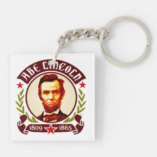 President Abraham Lincoln Portrait Square Acrylic Keychains