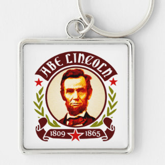 President Abraham Lincoln Portrait Silver-Colored Square Key Ring