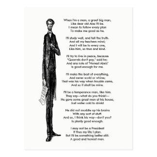 President Abraham Lincoln Tribute Vintage Poem Postcard